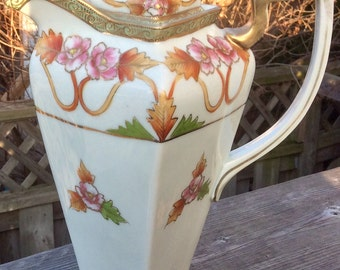 Hand Painted Nippon Moriage Cocoa Pot
