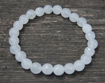 White Jade Bracelet,Gemstone Bracelet,8mm Round Beads,Elastic Bracelet,Fit All,Gemstones,Stretch Bracelet,Boho, Man,Woman