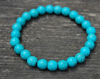 Turquoise Bracelet,Gemstone Bracelet,8mm Round Beads,Elastic Bracelet,Fit All,Gemstones,Stretch Bracelet,Boho, Man,Woman