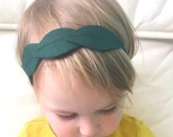 Forest Green Felt Leaf Headband