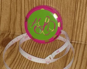 Retractable Tape Measure Personalized with Monogram. Pink and Lime Green.  Measuring Tape. Seamstress Tape. Sewing Tape. Personalized Gifts.