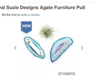 Large Agate Pulls // Gemstone Handles // Agate Knobs // Double Knob