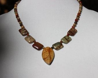 Red Creek Jasper Necklace, Statement Necklace, Pendant Necklace, Gemstone Necklace, Antique Copper