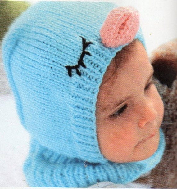 Knitting Pattern For Baby Hat And Mittens : Bluebird Coverall Hat and Mittens Knitting Pattern Baby Child