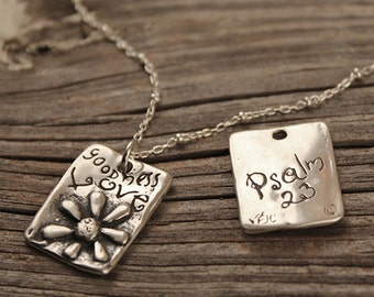 Goodness and Love Pendant, Visible Faith, Sterling Silver Jewelry, Christian, Handmade