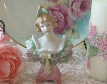 Bisque Lady Bust Figurine, Made In Japan Cottage Chic