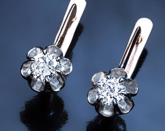 Vintage Buttercup Diamond Two-Color Gold Earrings