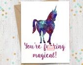 5 x 7 Mature Funny Greeting Card, Unicorn Card, Gift for Her, Gift for Him, Gay Greeting Card, Greeting Cards, Best Friend Birthday