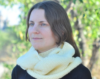 Cream knitted infinity loop scarf Womens long snood Cowl scarf