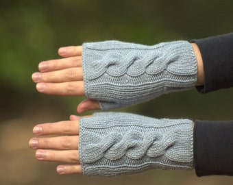 Gray fingerless gloves Spring mittens Womens knitted gloves Cable hand warmers Grey fingerless mitts Texting gloves