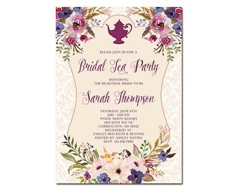 Bridal Tea Party Invitation, Floral Bridal Shower Invitation, High Tea Invitation, Shabby Chic Bridal Tea Party Invitation