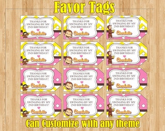 Curious George Birthday, Favor Tags, Monkey Tags, Birthday Tags, Goody Bag Tags, Curious George Tags