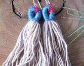 Boho Tassel Earrings - Fiber earring - Short tassel earring - fiber art - colorful earrings - gifts for her - drop earring