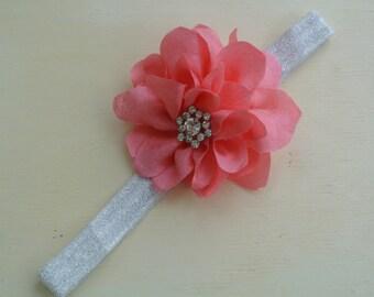 pink headband, flower headband, baby girl headband, toddler headband