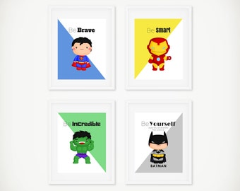 Superhero Print Set, Superhero Wall Art, Boys Room Decor, Superhero Art, Superman Print, Batman Print, Super Hero Wall Art, 8 by 10