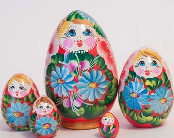 Nesting Eggs Camomiles blue on red matryoshka egg - kod6p