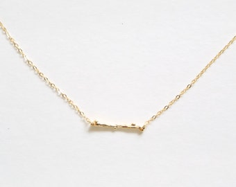 Single Twig Pendant Necklace // 14K Gold Plated or Sterling Silver options