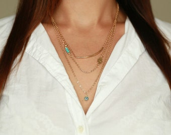 Sale Layered Necklace Set Gold Chain Fatima Hand Turquoise Beads Layered long necklace cyber monday deal