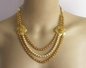 Gold Plated Flower Side Pendants Necklace Set/Gold Multi Layered Chandraharam Necklace Earring/South Indian Necklace/Bollywood Necklace Set