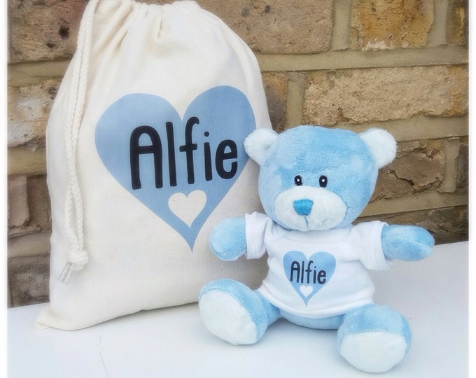 Personalised baby gift set. Drawstring bag & teddy | Keepsake bag | Any wording / colour | Newborn | Baby shower | New baby gift
