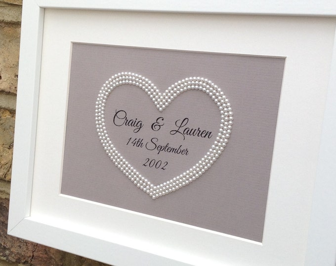 Custom Pearl Heart Couples Personalised Print Framed 10x7...Great Gift For Weddings or Anniversary. Smaller size available 5x7