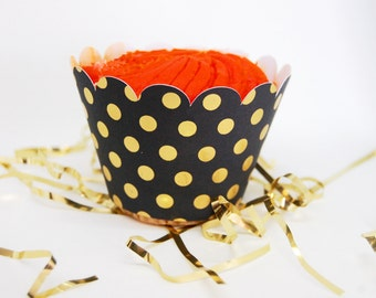 Black and Gold Dot Cupcake Wrappers