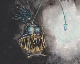 Watercolor Angler Fish Print