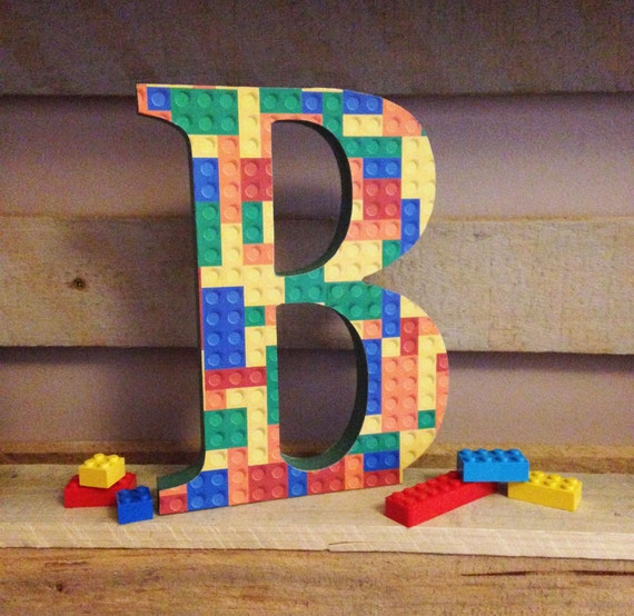 freestanding decorative wooden lego themed letters 20cm