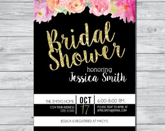 Black & White Bridal Shower Invitation, DIY Invitation, Digital Invitation, Custom Invitation, Watercolor Invite