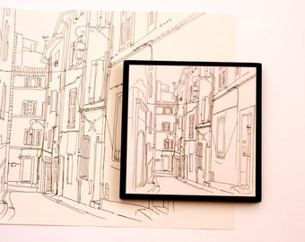 Printed illustration on wood plaque small wall art of Aix en Provence, French decor