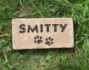 "Pet memorial paver 4 x 7"" custom engraved"