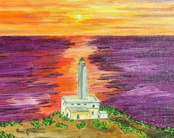 Framework, Oil Painting, sea, ocean, horizon, shrubs, vegetation, houses, sunset, lighthouse