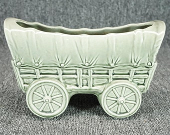 "Vintage Ceramic Covered Wagon 9 3/4"" Indoor/Outdoor Planter"