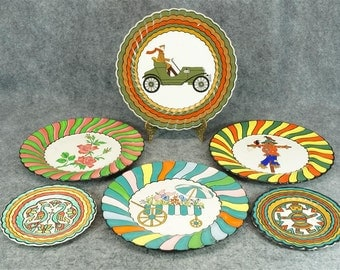 Hand Painted Set of 4 DinnerPlates and 2 Smaller Plates from Colorado Custom Craftworks
