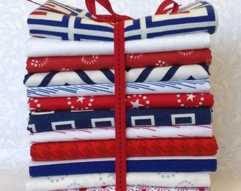 Red White and Blue fat quarter bundle