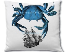 Blue Crab playing with Galleon Ship Pillow - tall ship boat pillow- blue crab pillow cover