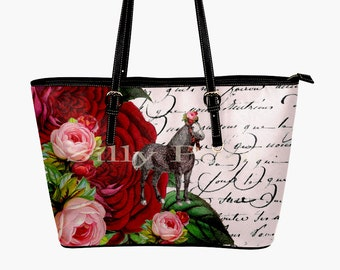 Horse Roses Purse - Horse Purse - Horse Handbag - Horse lover gifts French Script Purse Roses Purse
