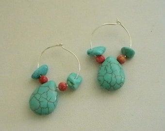 Silver Tone Hoops Faux Turquoises Beaded Pierced Earrings