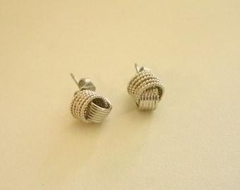 Silver Tone Twist Braided Look Post Pierced Earrings