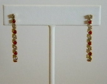 Vintage Dangle Red Clear Rhinestone Pierced Earrings