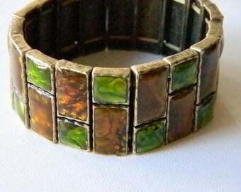 Green Brown Square Enamel Stretch Bracelet
