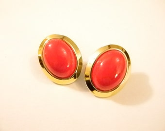 Large Oval Gold Tone RED Button Pierced Earrings
