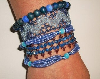 Blue Bracelet Stack, 4 Stacking Bracelets, Fiber Bracelet Sets, Bohemian Bracelets, Bracelet Bangles, Wide Bracelet Set, Fibre Bracelets