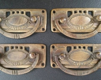4 Solid Brass Arts and Crafts style drawer pull handles hardware #H33