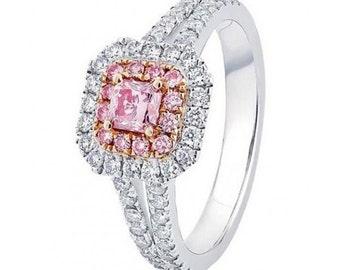 18K Pink Sapphire/Diamond engagement ring