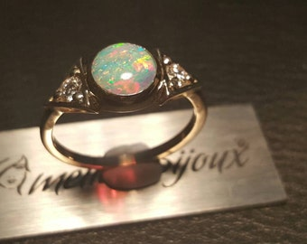 3stone 9K gold opal ring