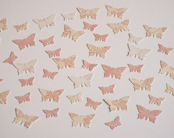 200pk - Pink and White Butterflies Table Confetti/ Card Making/ Scrapbooking Embellishments