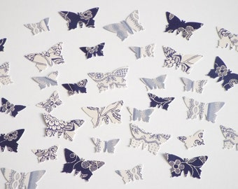 200pk - Blue and White Butterflies Table Confetti/ Card Making/ Scrapbooking Embellishments