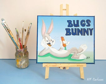 Bugs Bunny Canvas, Handmade Acrylic Painting for Kids Rooms or Playrooms, Art for Children, 25x30cm