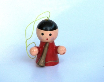 Vintage angel Christmas ornament red gold 1970s